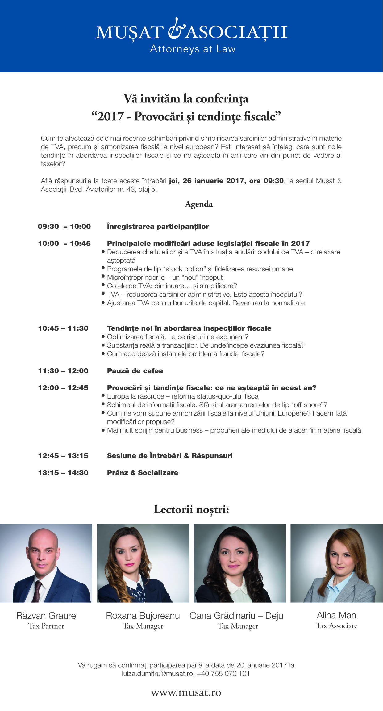 invitatie eveniment  2017 - Provocari si tendinte fiscale